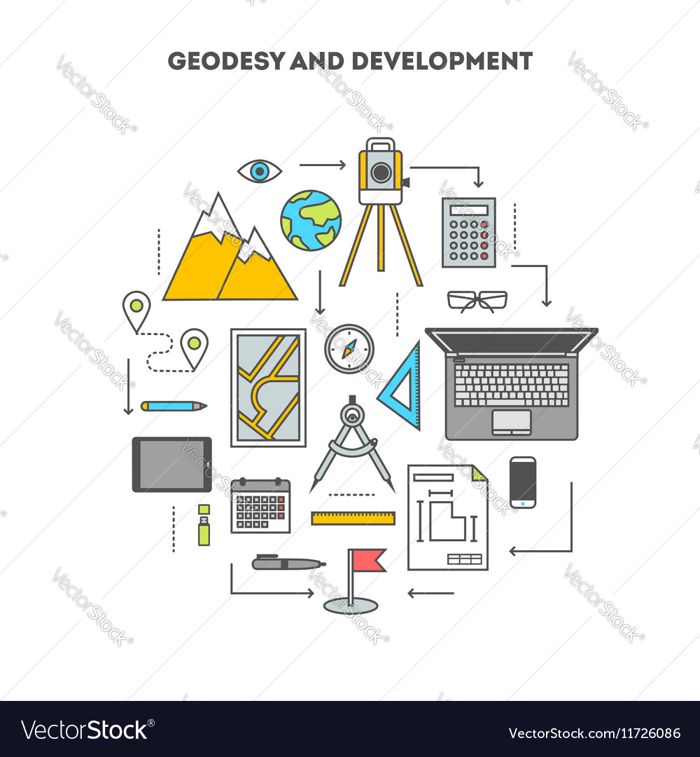 Conceptual contour set of flat icons vector image