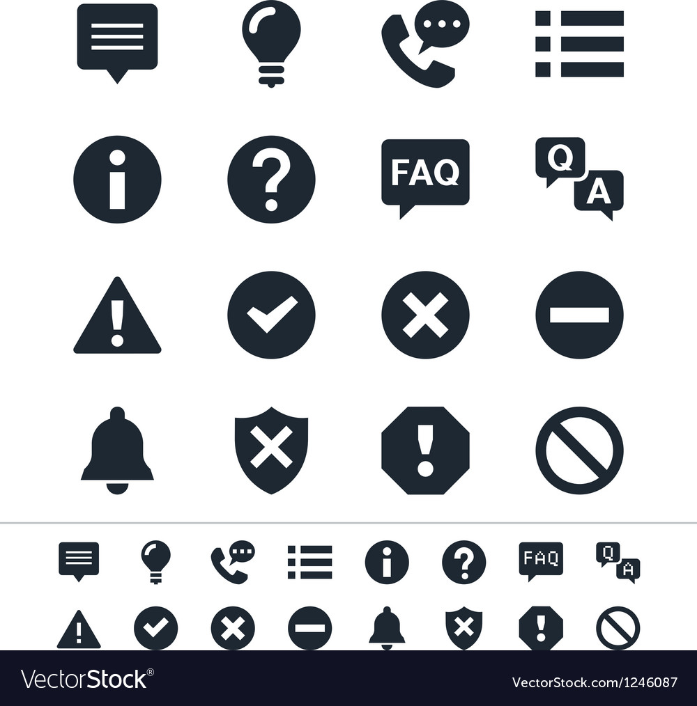 Information and notification icons Royalty Free Vector Image