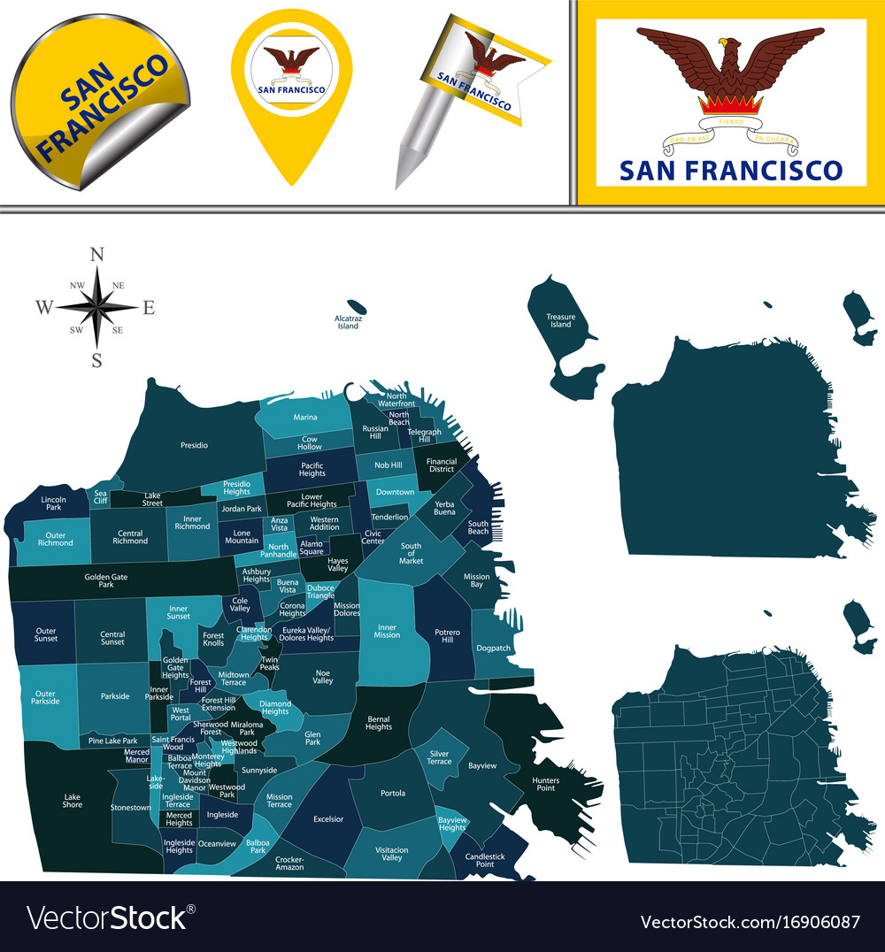 Map of san francisco with districts Royalty Free Vector