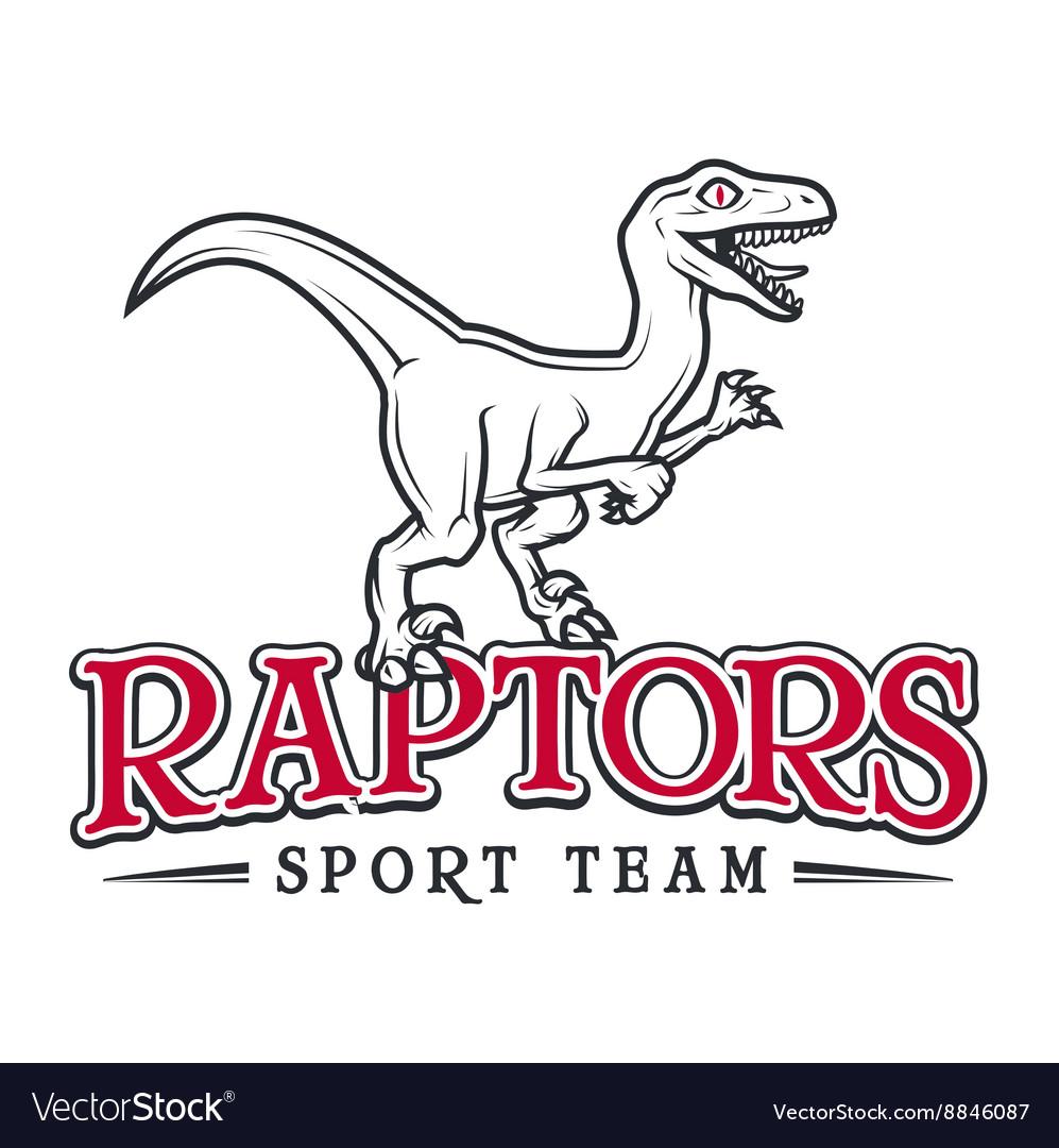 Vintage Jurassic raptor Logo Dino sport mascot vector image