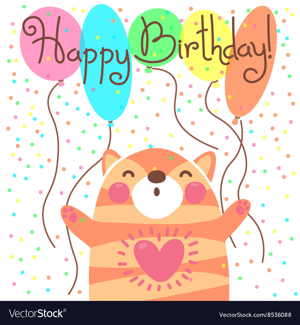 Cute happy birthday card with funny kitten Vector Image – Happy Birthday Cards Cute