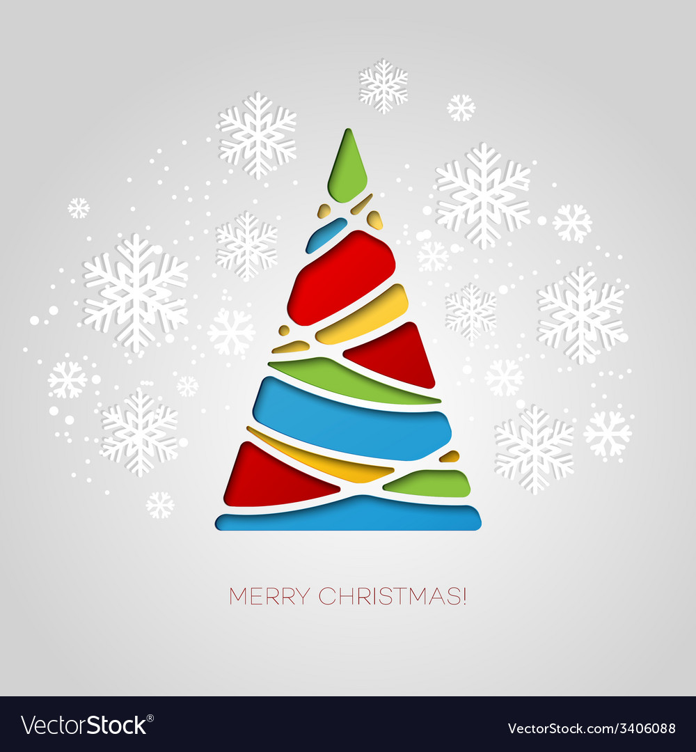 Merry Christmas tree greeting card Paper design vector image