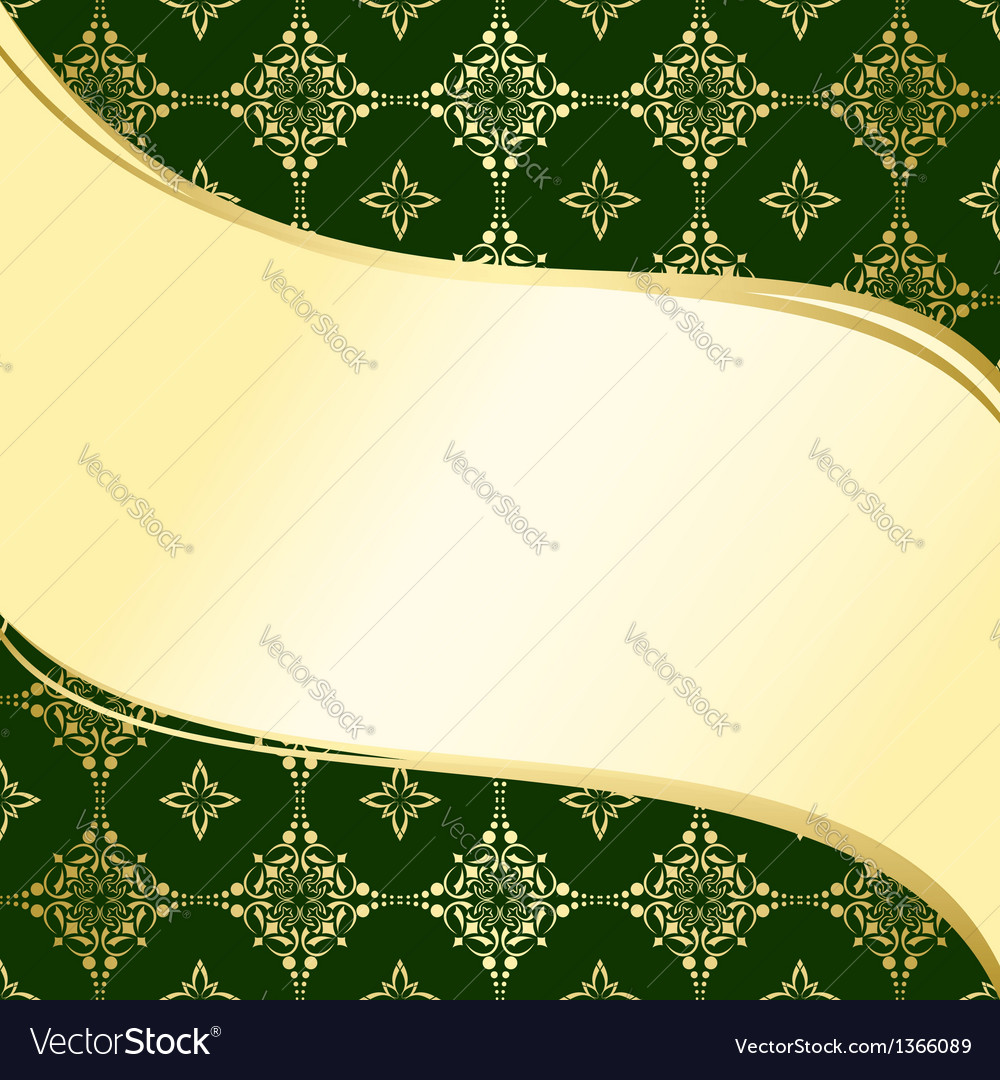 Abstract Wavy Green And Gold Background Royalty Free Vector