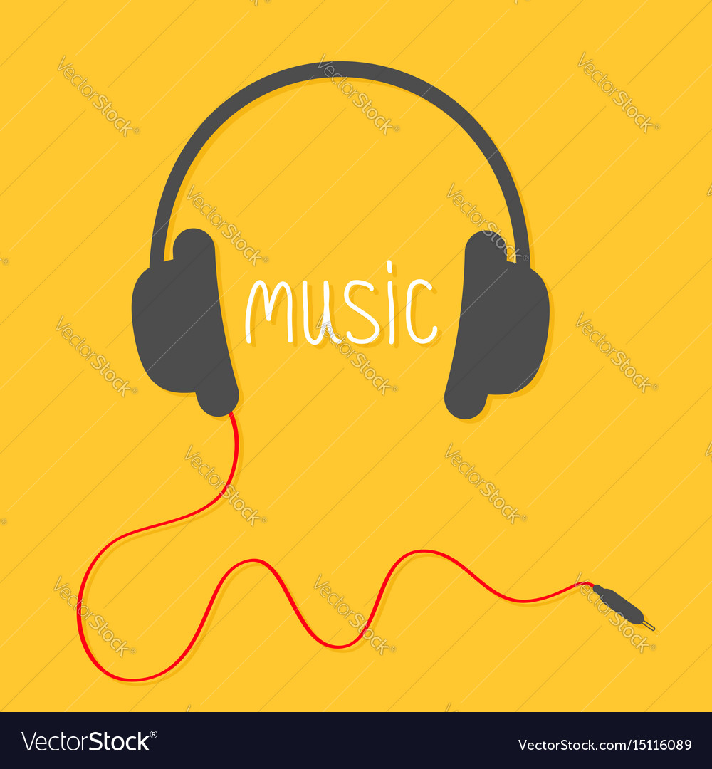 Black headphones with red cord and white word vector image