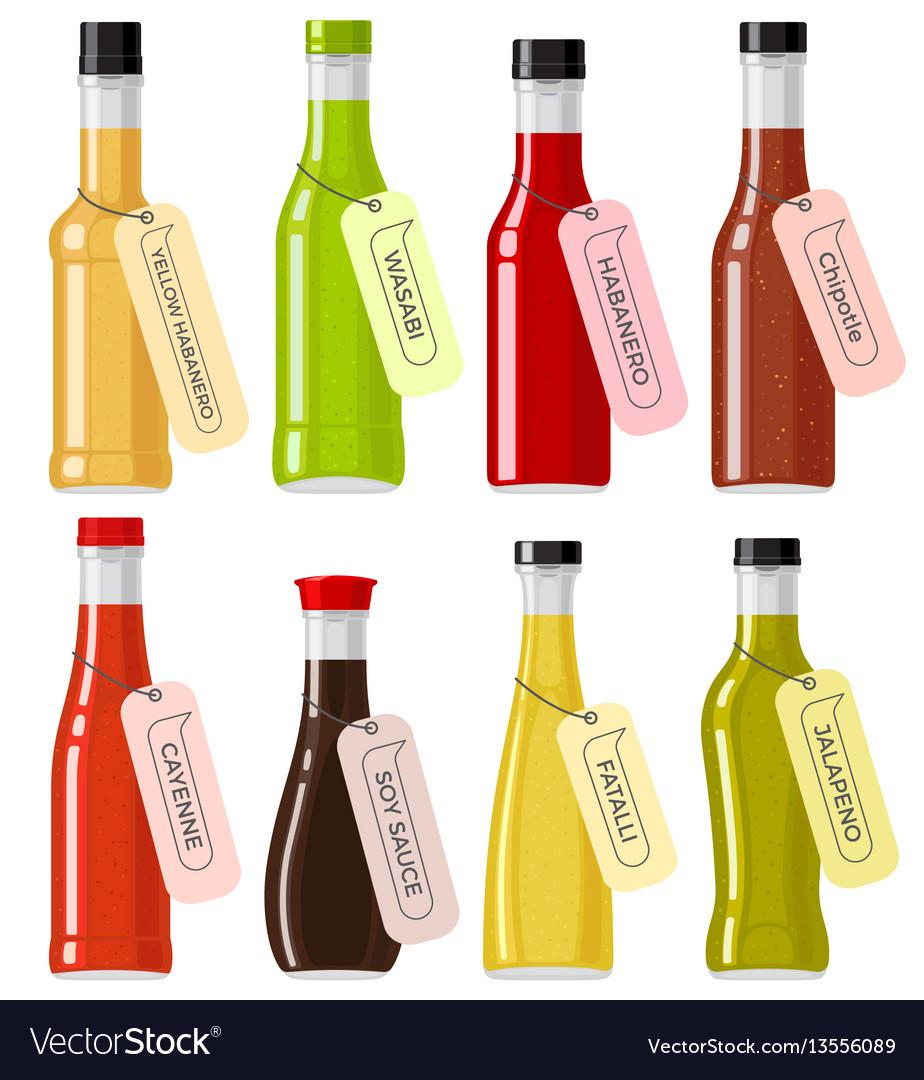 Oriental sauce kinds in glass transparent bottles vector image