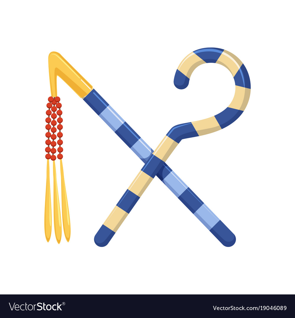 Rod and whip egyptian ancient symbols of power vector image