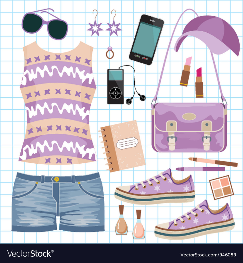 Youth fashionable set vector image