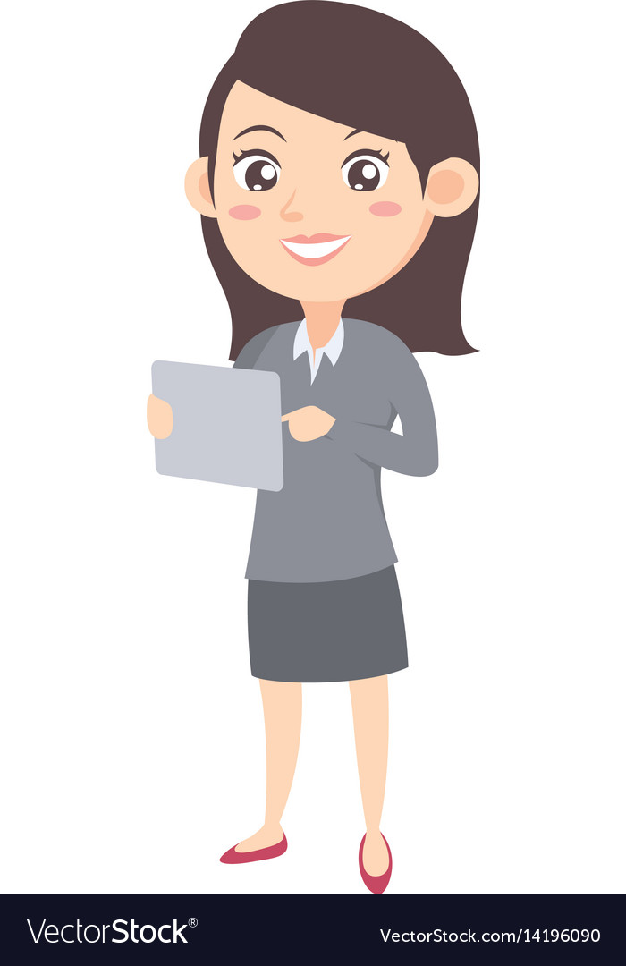 Business women with tablet character vector image