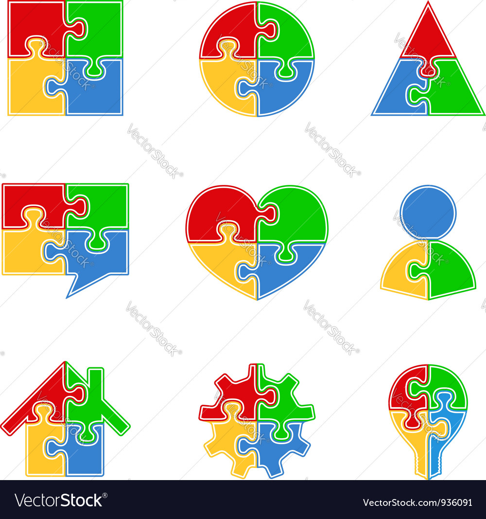 Abstract Puzzle Objects vector image