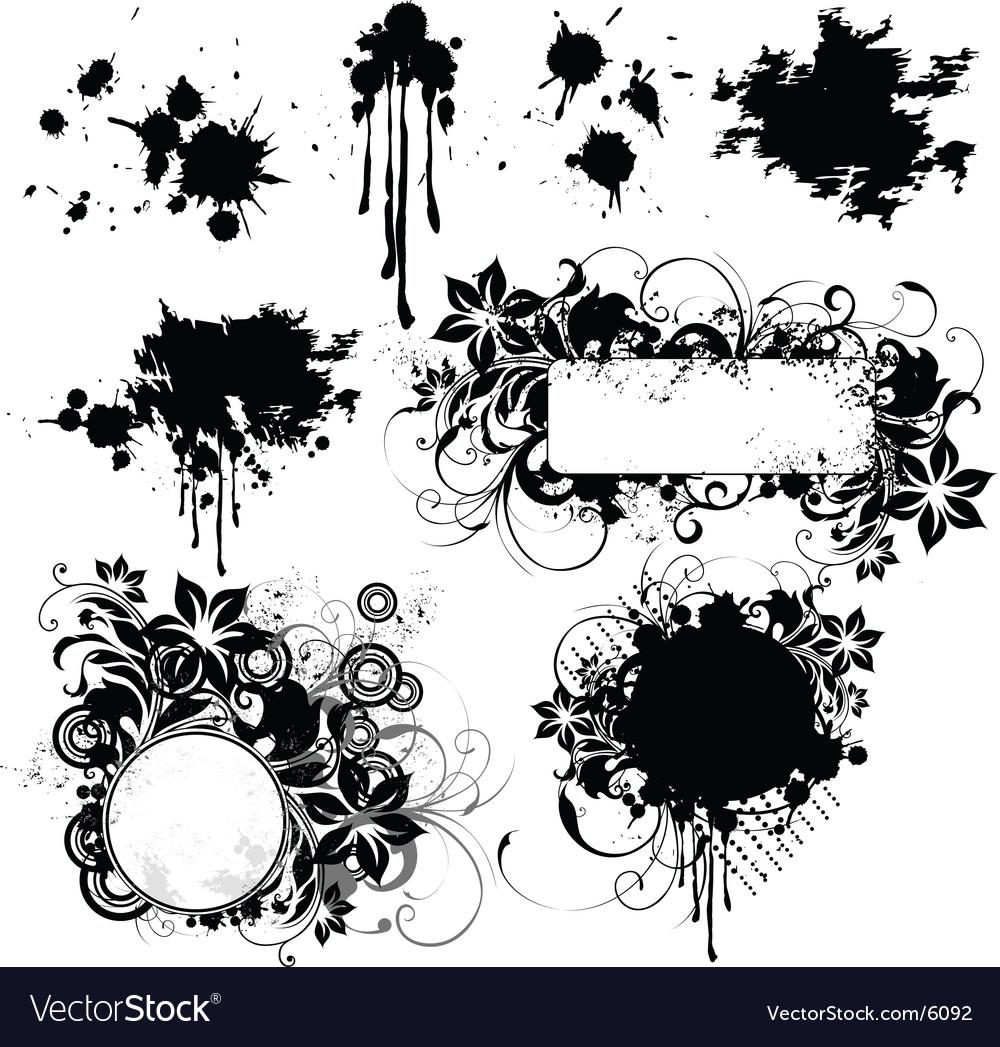 Floral grunge frame elements vector image