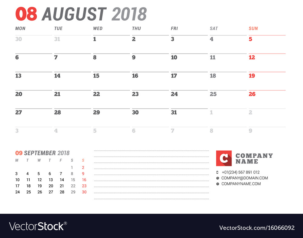 Calendar template for august 2017 business vector image