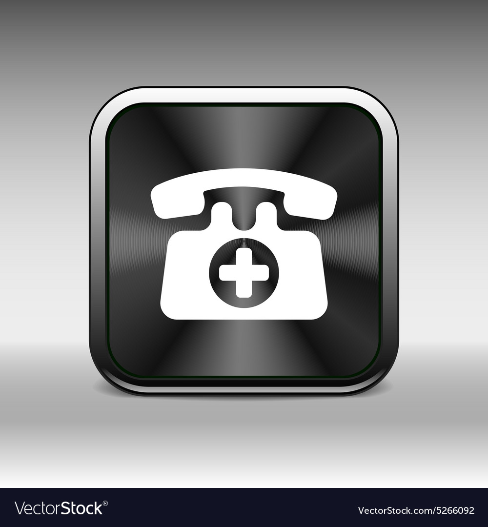 Emergency call sign icon fire phone number button vector image