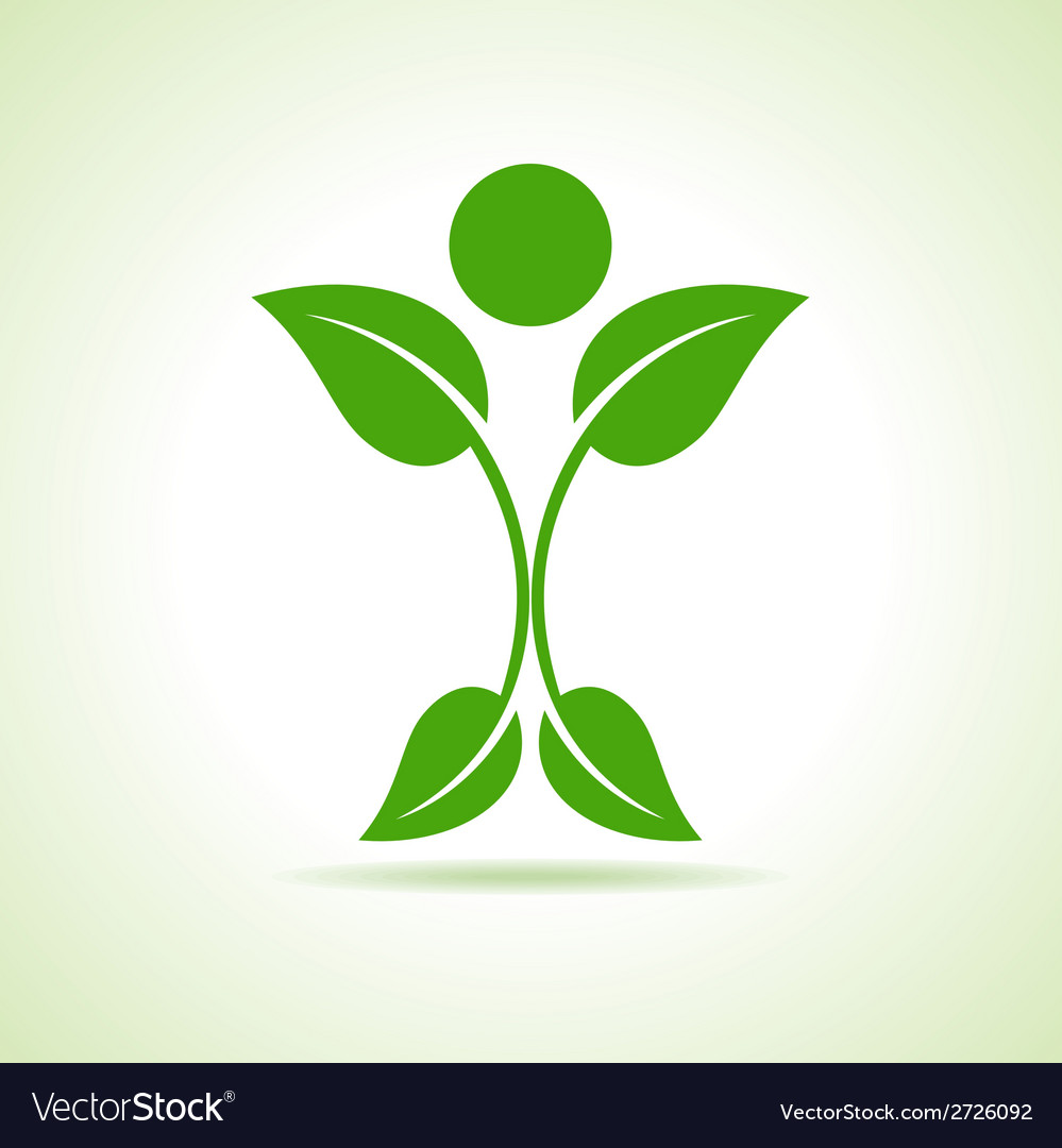 Leaf make a person icon vector image