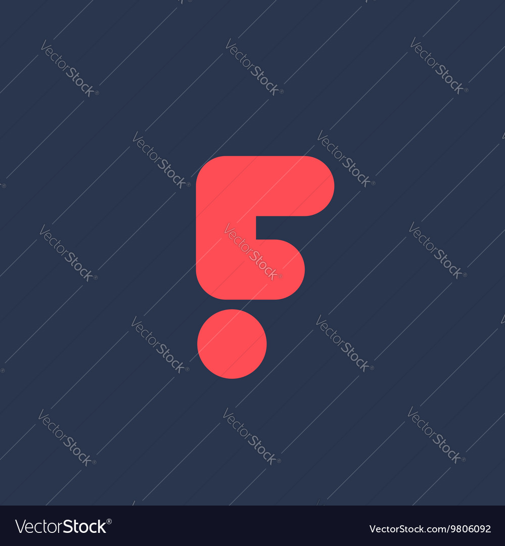 Letter F exclamation mark logo icon design vector image
