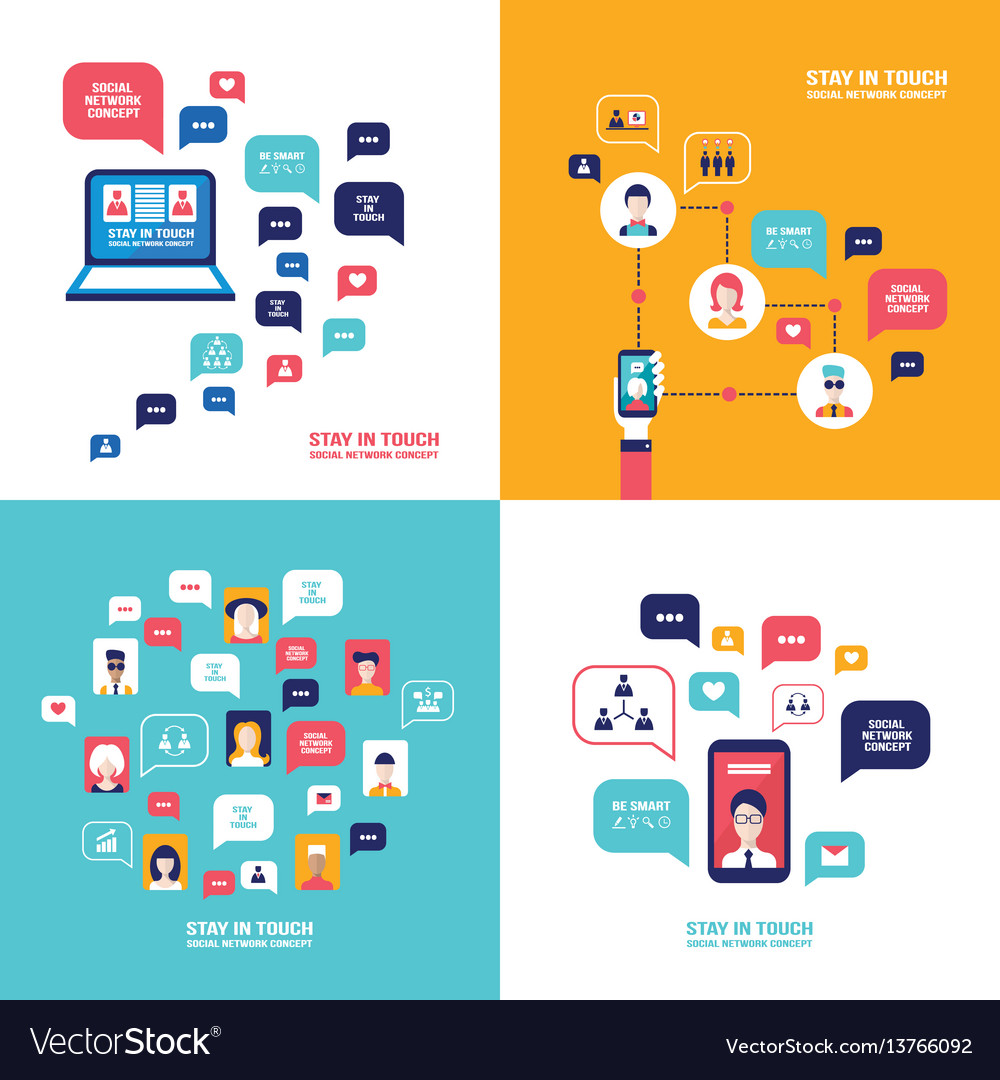 Social network technology banner set people using vector image