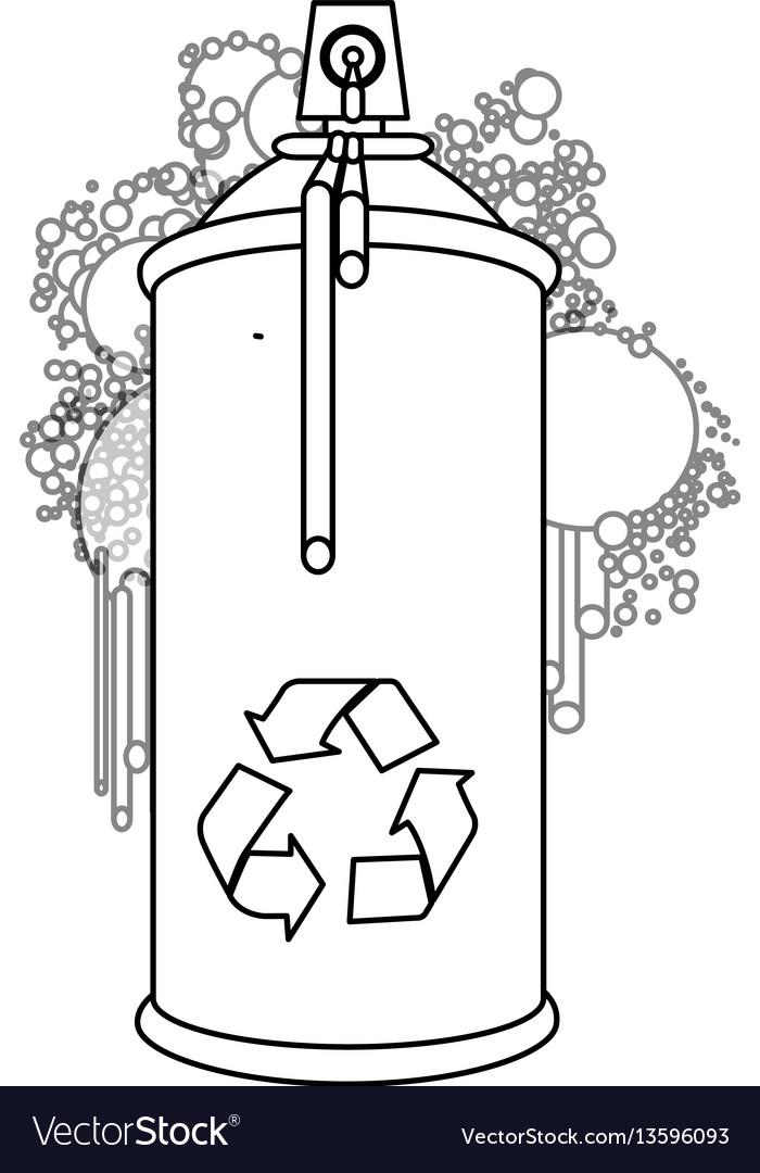 Figure aerosol sprays with recycle symbol icon vector image