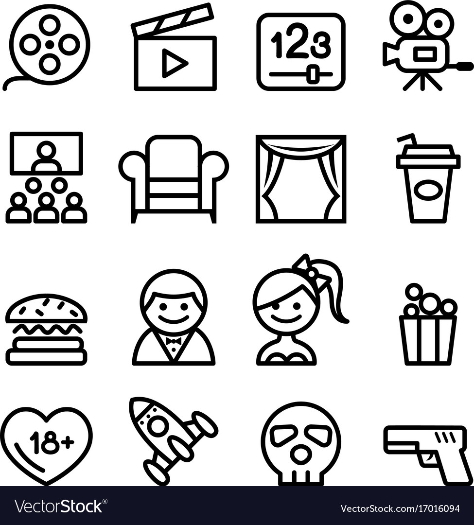 Basic movies icons set line icon vector image