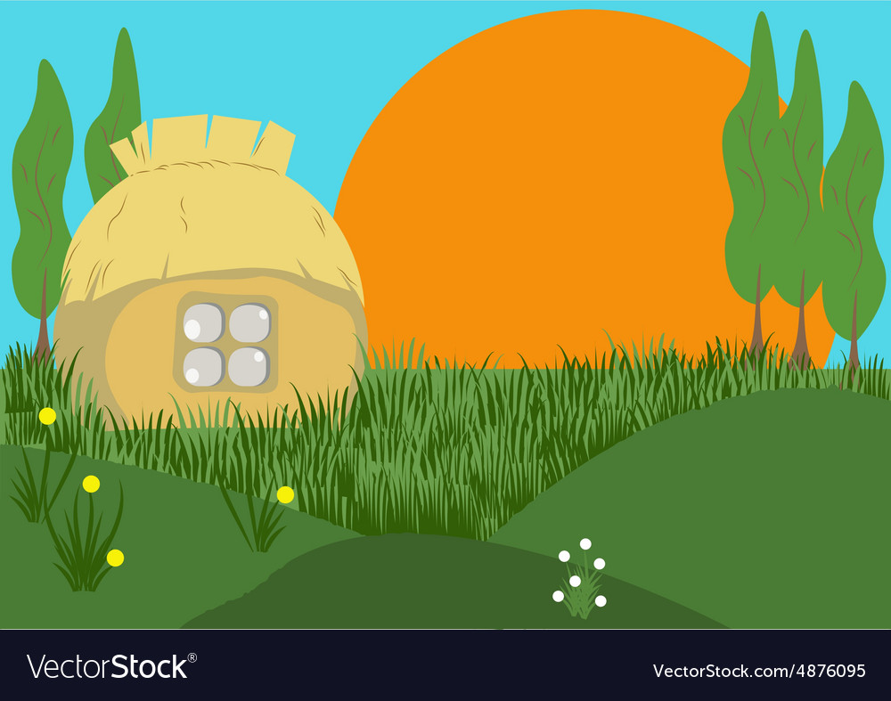 Morning in the village vector image
