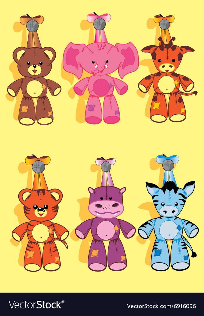 Soft toy set vector image