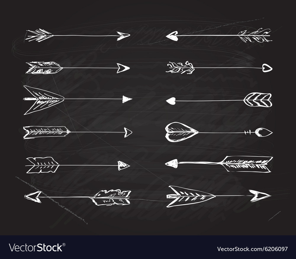 Hand-drawn arrows with feathers vector image