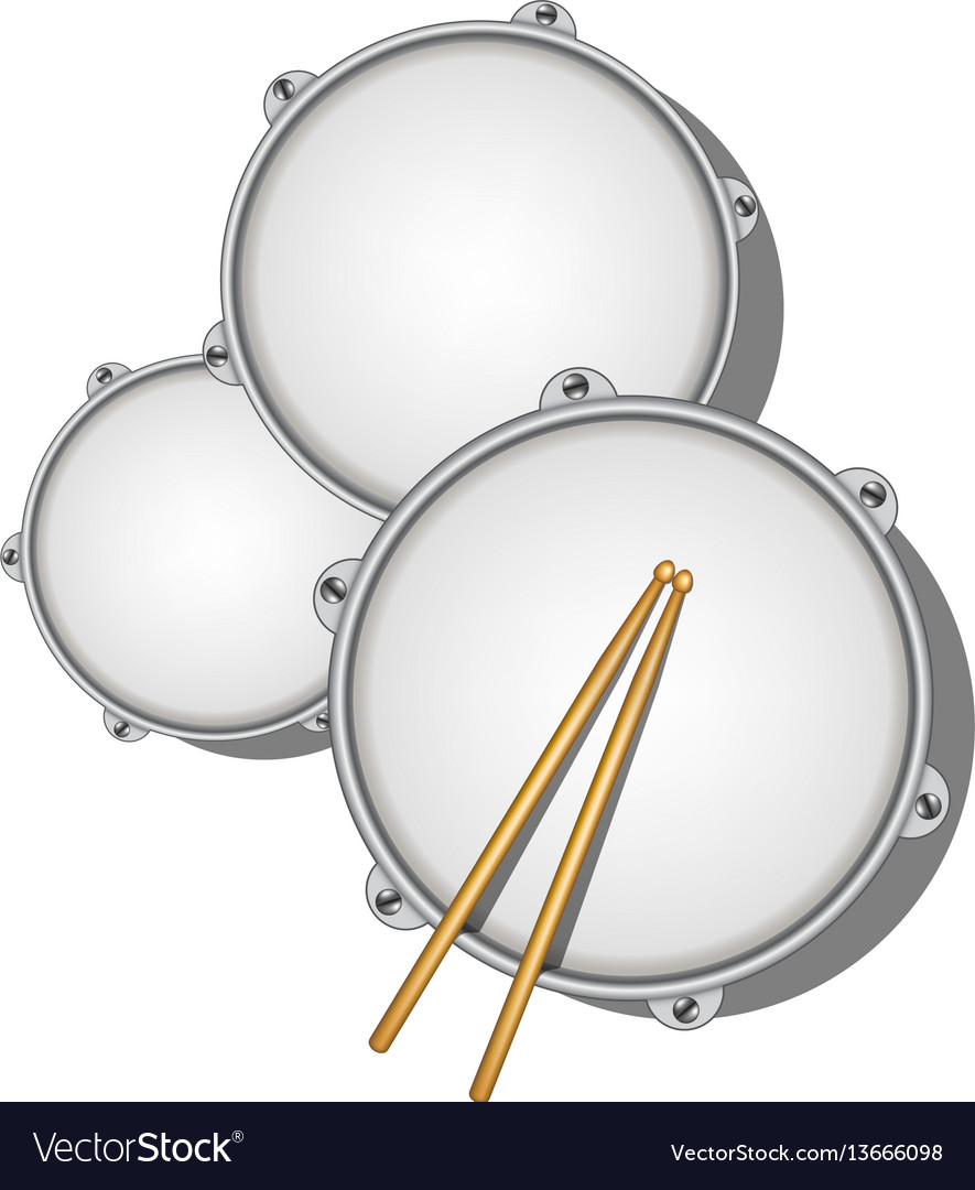 Drums and pair of wooden drumsticks vector image
