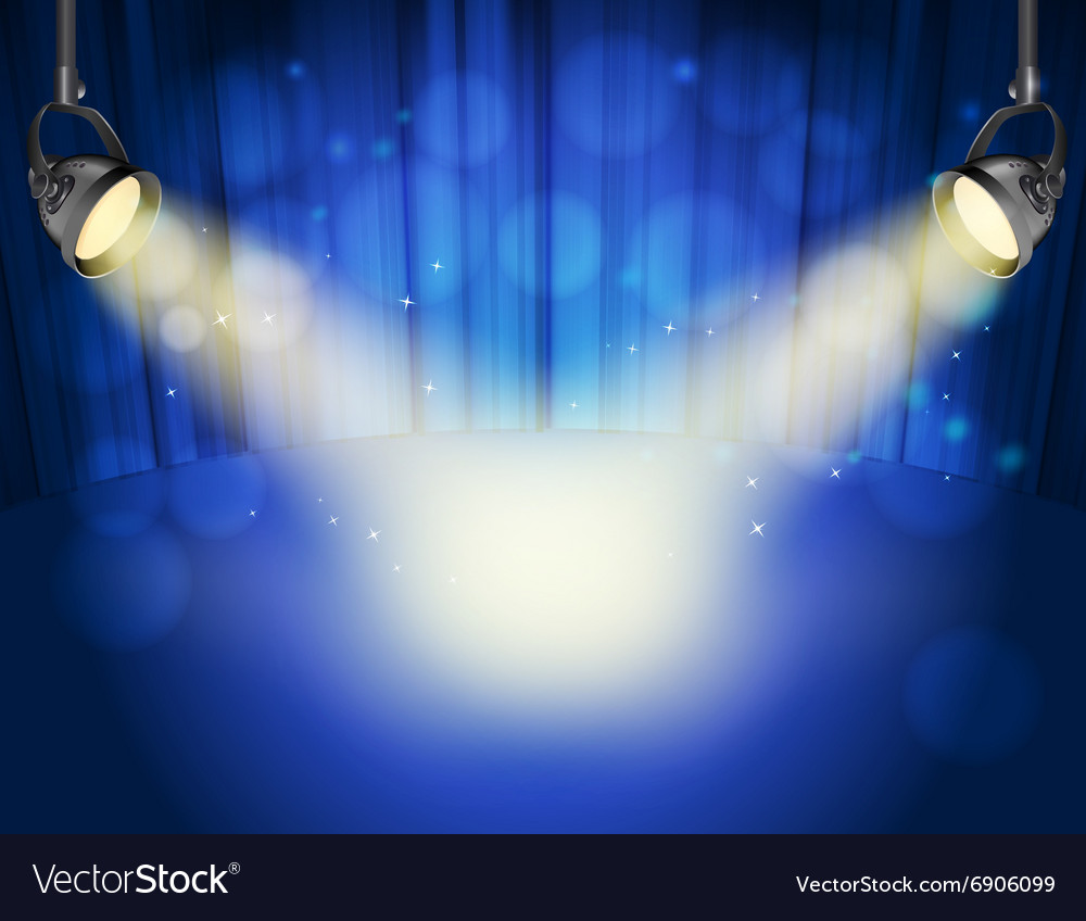 Blue curtain background vector image