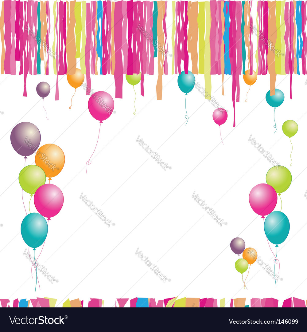 Happy birthday balloons and confetti. Insert your text here. Keywords: