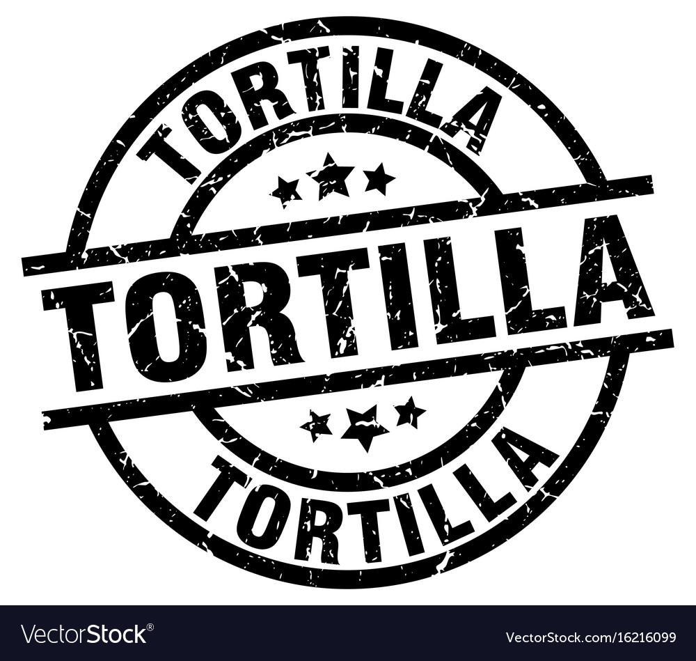 Tortilla round grunge black stamp vector image