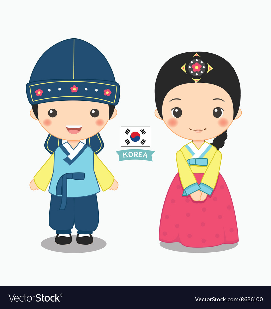 Boy And Girl In Korean Costume Royalty Free Vector Image