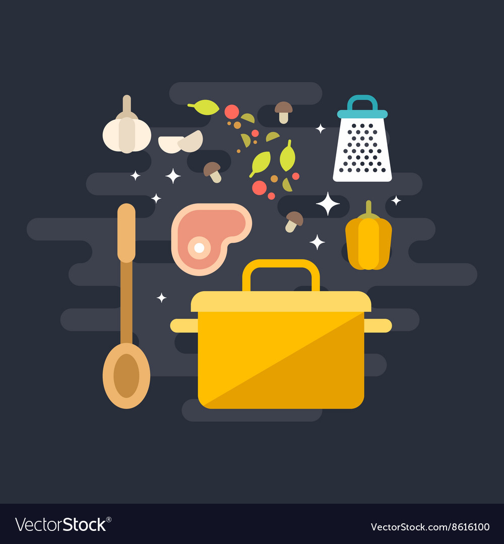 Cooking Concept Ingridients for Soup with Soup Pot vector image