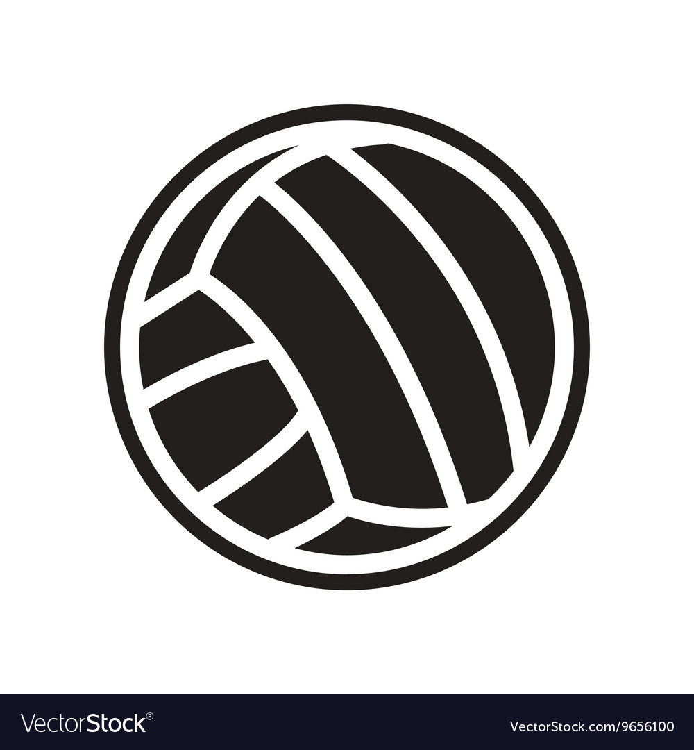 Flat icon in black and white style volleyball ball