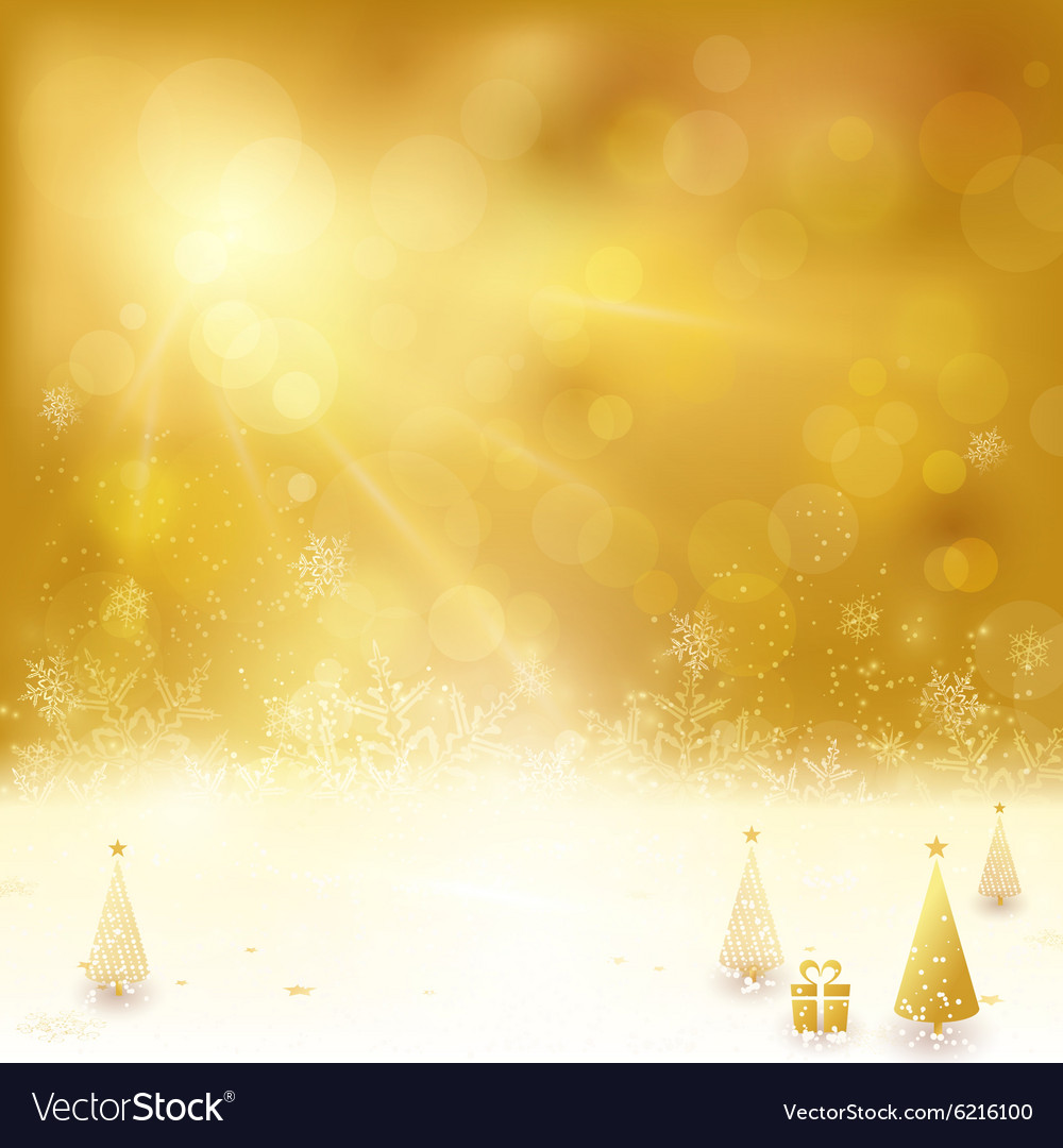 Golden Christmas backgound with Christmas vector image