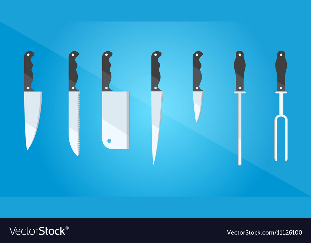 Kitchenware Set of different kinds of knives vector image