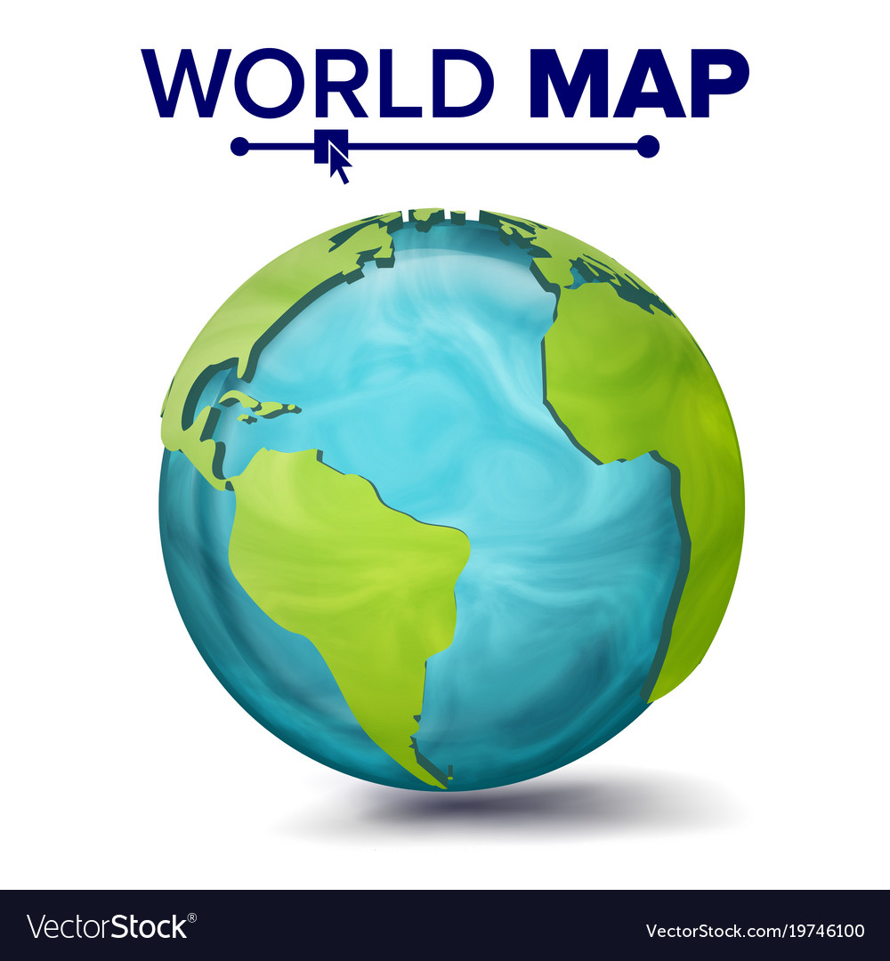 World map 3d planet sphere earth with royalty free vector world map 3d planet sphere earth with vector image gumiabroncs Image collections