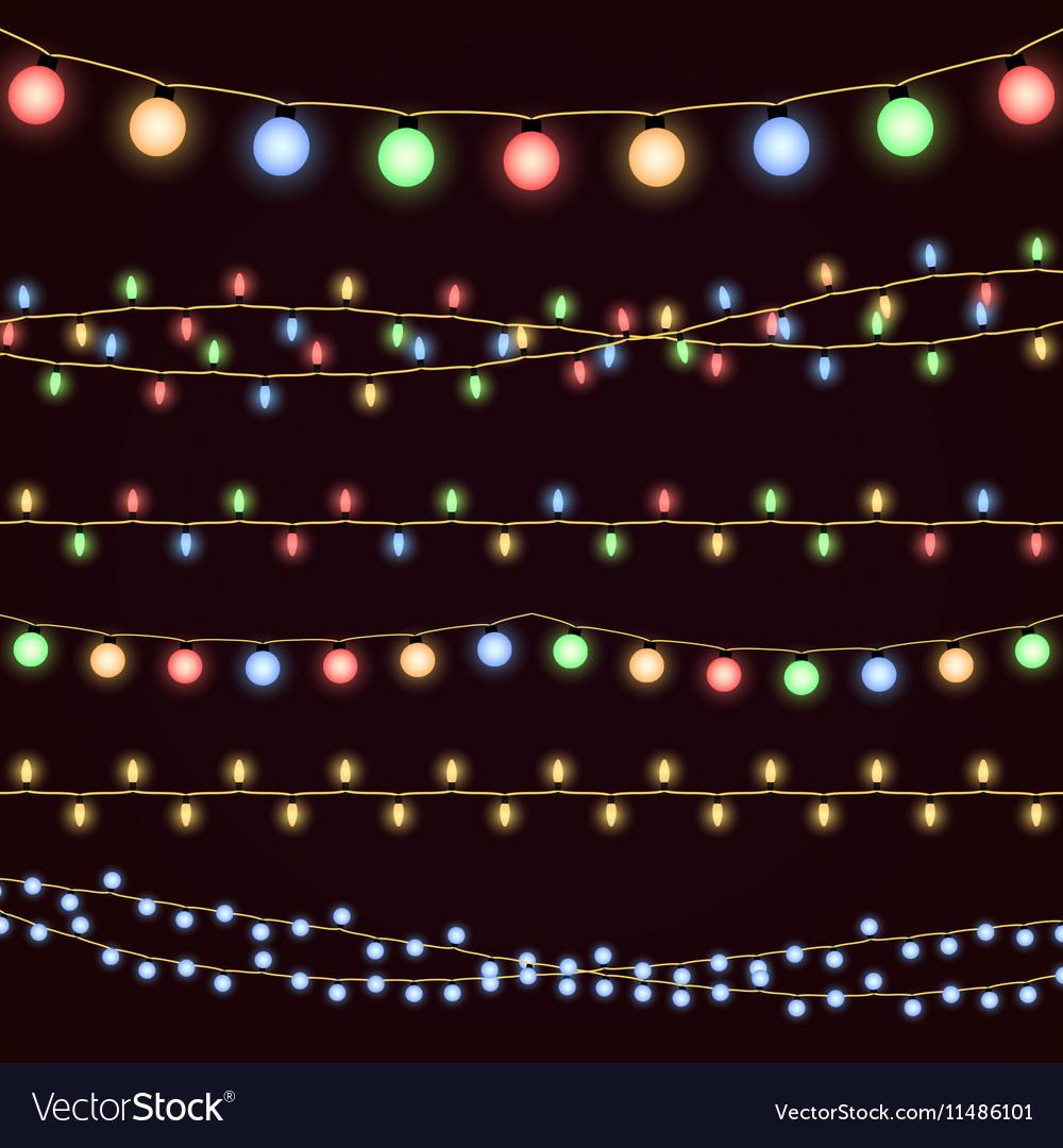 Festive christmas garland lights fairy xmas vector image