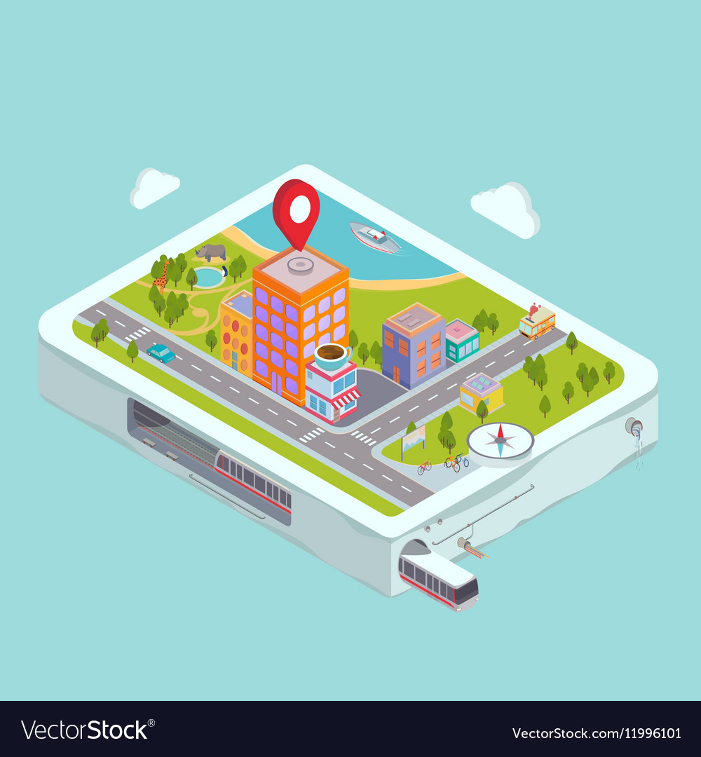 Flat map GPS navigation City Center vector image