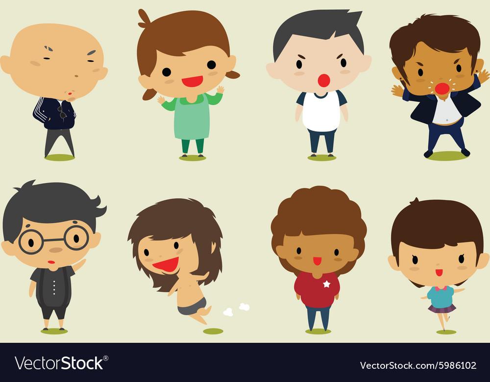 Cute cartoon boys and girls set2 clip art vector image