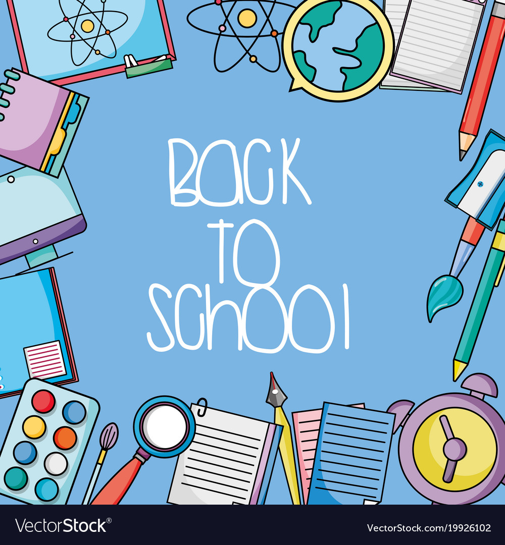 School utensils design to back class background vector image voltagebd Images