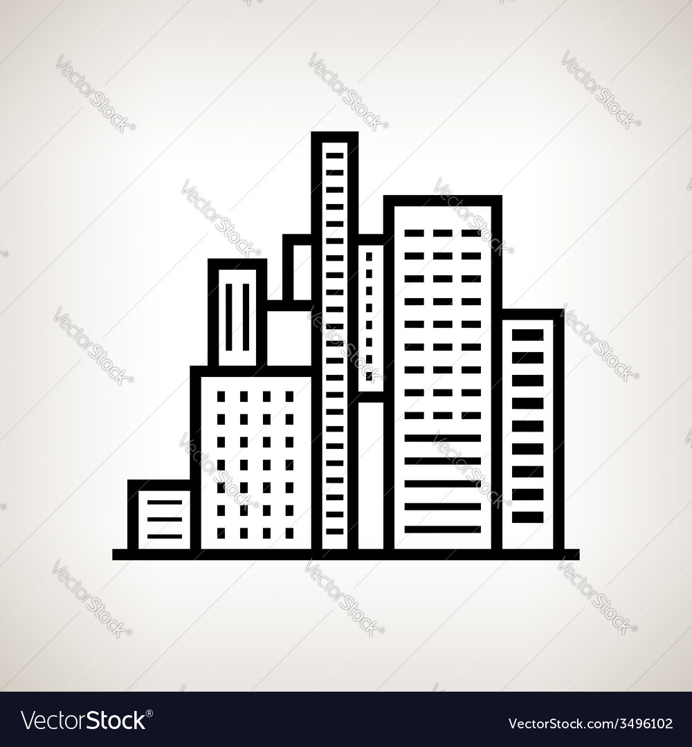 Silhouette modern buildings on a light background vector image