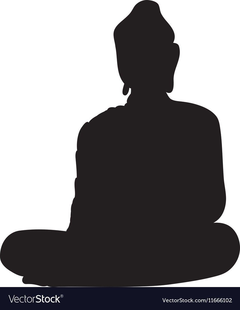 Silhouette of a buddha vector image