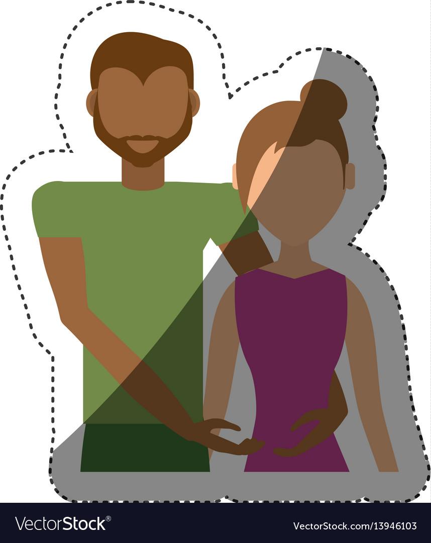 Couple ethnic relationship shadow vector image