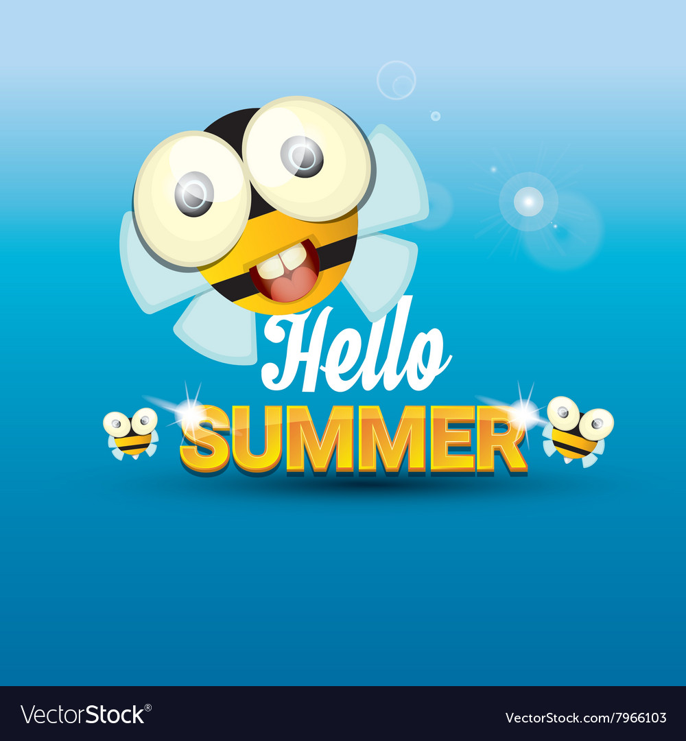 Charmant Hello Summer Background Funny Cartoons Bee Vector Image