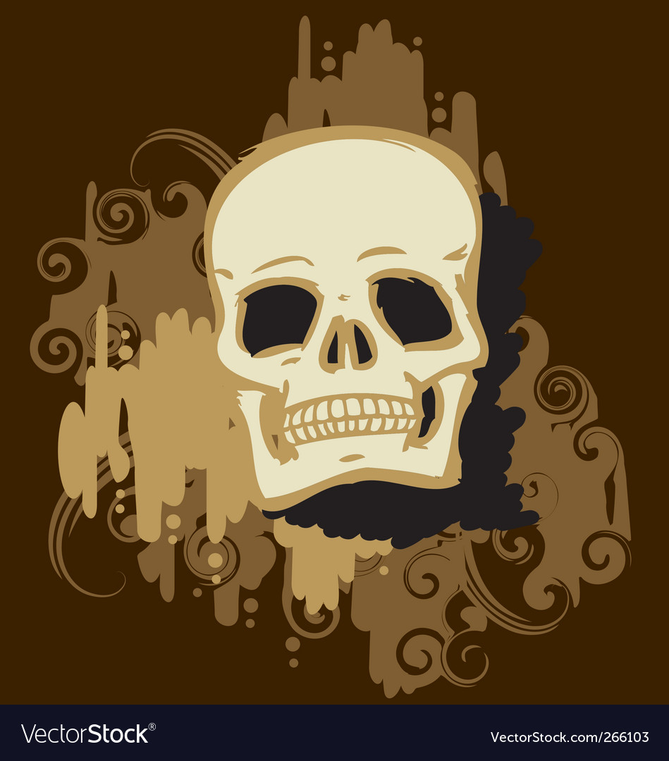 Skull gold vector image