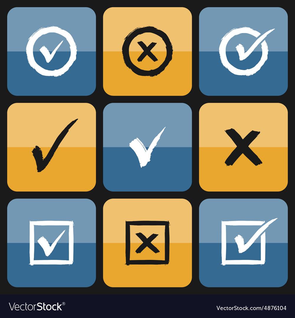 Checkbox Set of hand drawn Icons vector image