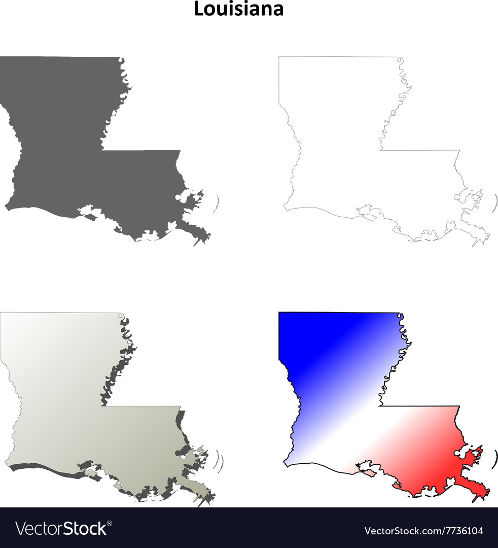 Louisiana outline map set vector image