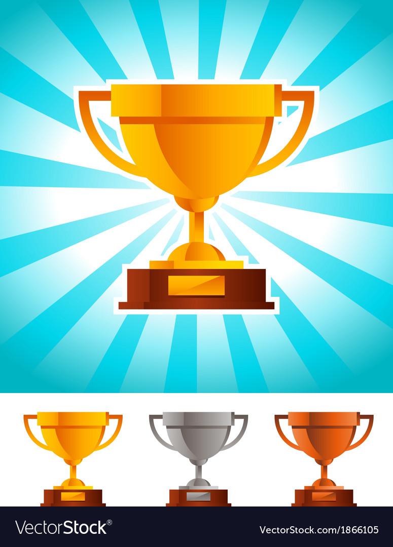 Gold Winner Cup Trophy vector image