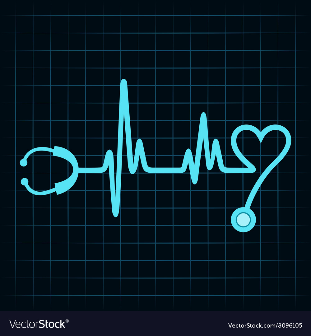 Stethoscope make a heartbeat stock vector image