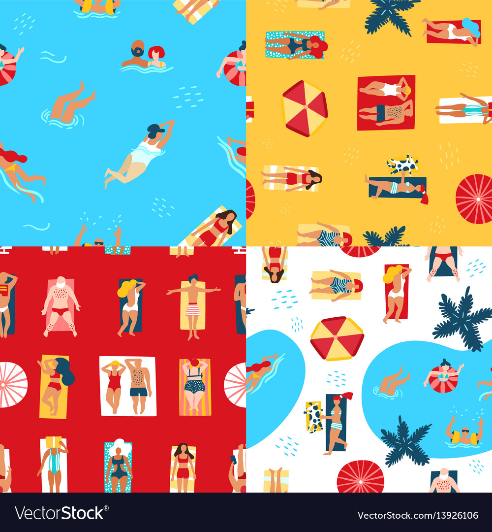 Beach and sea seamless pattern vector image