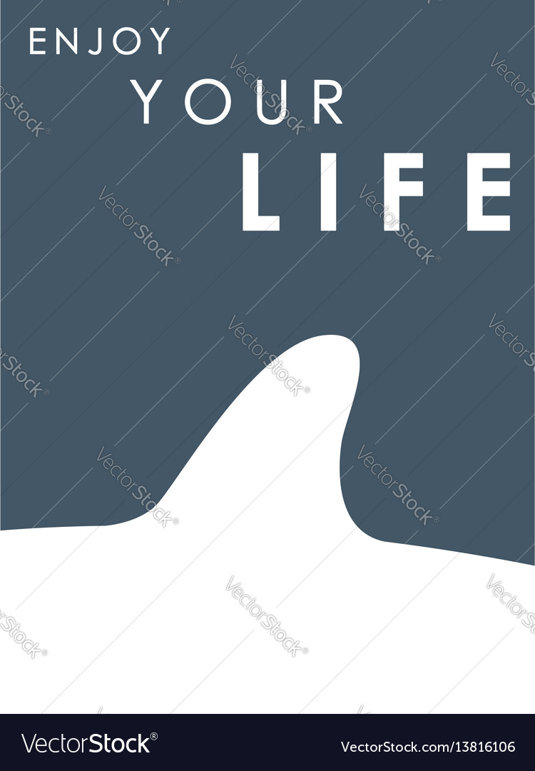 Shark fin banner with text enjoy your life vector image