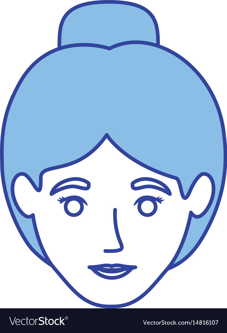 Blue silhouette of woman with collected hair vector image